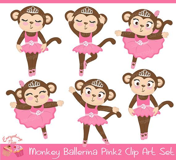 Affe Ballerina Pink2 Clipart Set von 1EverythingNice auf Etsy.