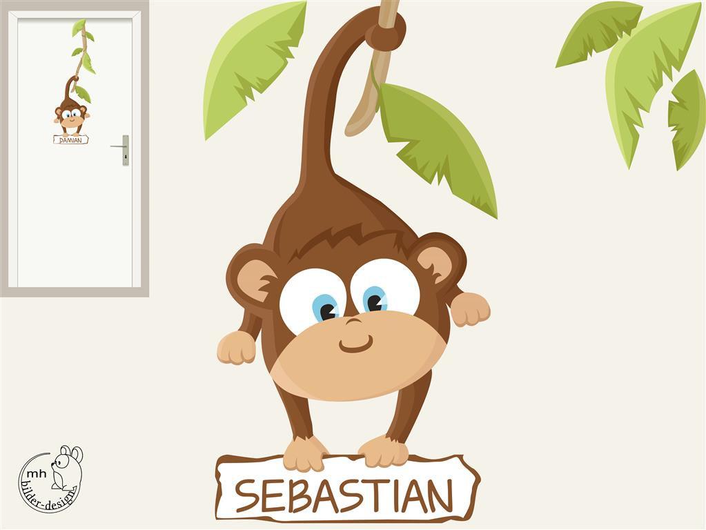 Wandtattoo Türschild Baby Affe Dschungel Kinderzimmer von MHBilder.