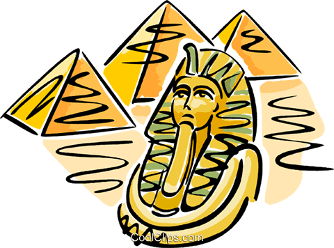 Pyramids with Pharaoh's mask Royalty Free Vector Clip Art.