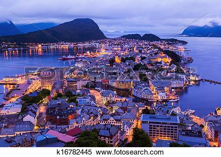 Stock Image of Cityscape of Alesund.