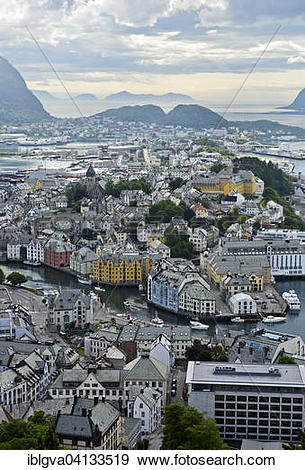 Stock Photograph of View from the Aksla hill to Alesund, Alesund.