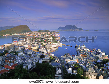 Stock Photo of Overview of coastal village of Alesund in Northern.