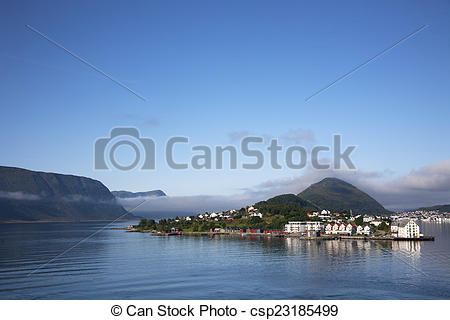 Stock Photographs of Entry waterway to Alesund Norway with.