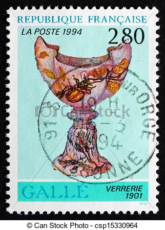 Stock Image of Postage stamp France 1994 Glassware, 1901, by Emile.
