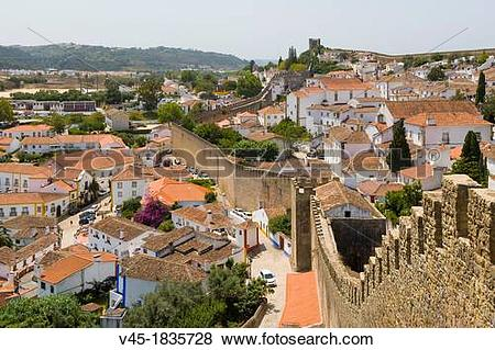 Pictures of View of Obidos from the city wall, Castelo de Obidos.