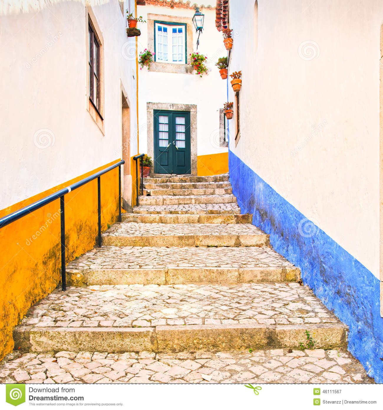 Old Urban Street And Colorful Facades In Obidos. Oeste, Leiria.