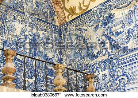 "Stock Photography of ""Azulejos or tiled images, Porta da Vila gate."