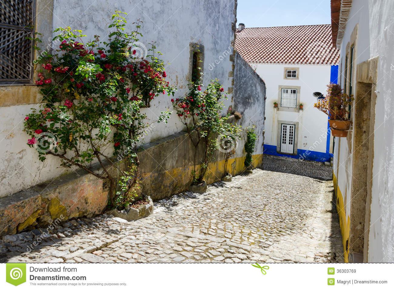 European Village. Streets In Obidos Royalty Free Stock Photos.