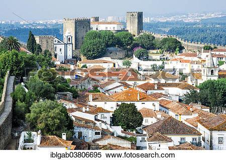 "Stock Image of ""Townscape, Obidos, Leiria District, Portugal."