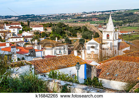 Stock Image of Overview of Obidos.