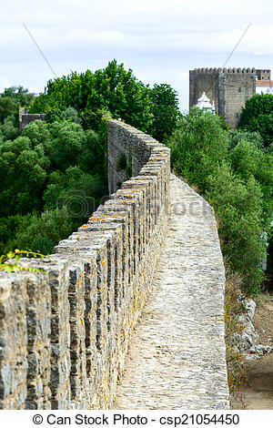 Stock Images of Old bulwark in Obidos (Portugal).