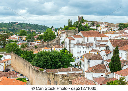 Pictures of Rooftops, houses and old city wall, Obidos (Portugal.