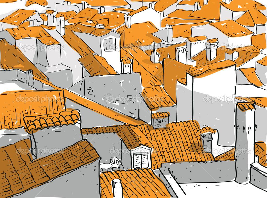 Háztetők óváros — Stock Vektor © vook #22524087.