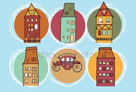 Doodle színes házak — Stock Vektor © Innkey #66590837.