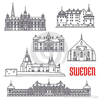 Drottningholms Palace Stockholm City Stock Illustrations.