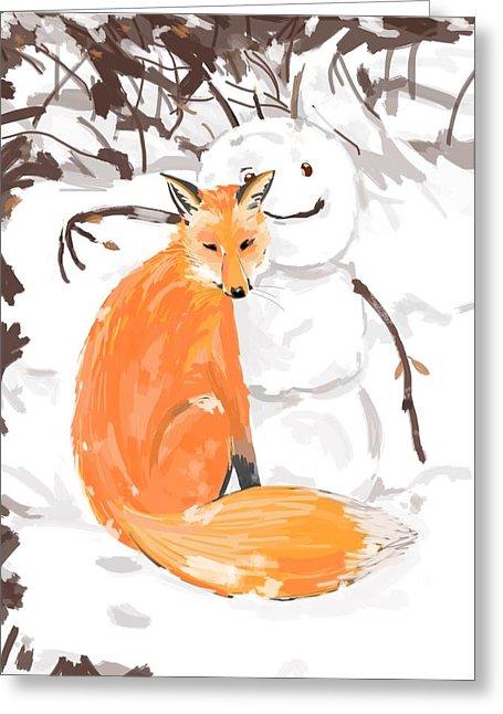 Christmas Fox Digital Art by Plum Ovelgonne.