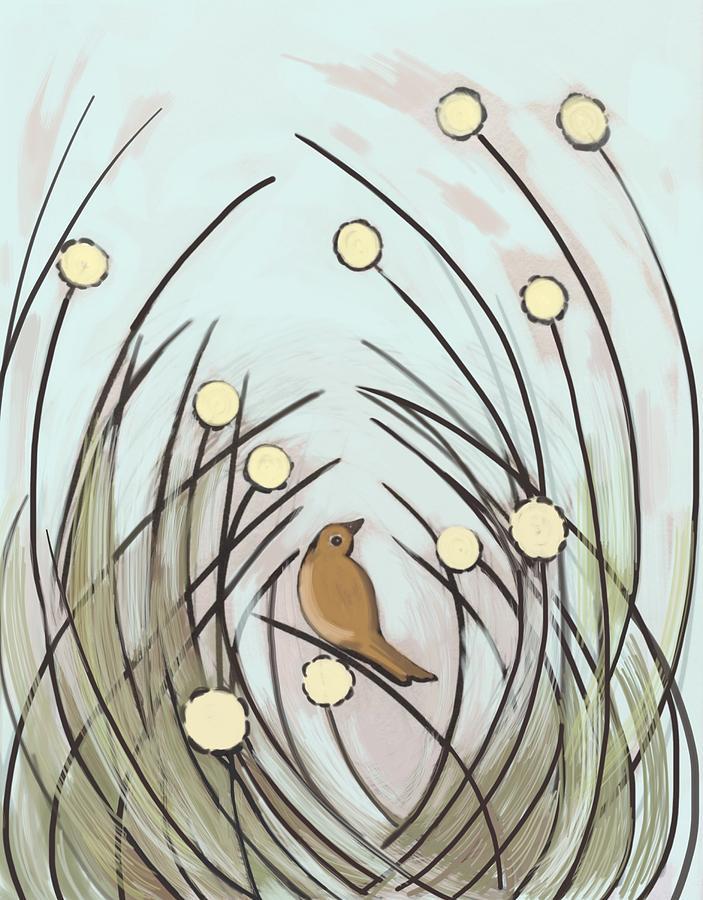 Bird In Long Grass Digital Art by Plum Ovelgonne.