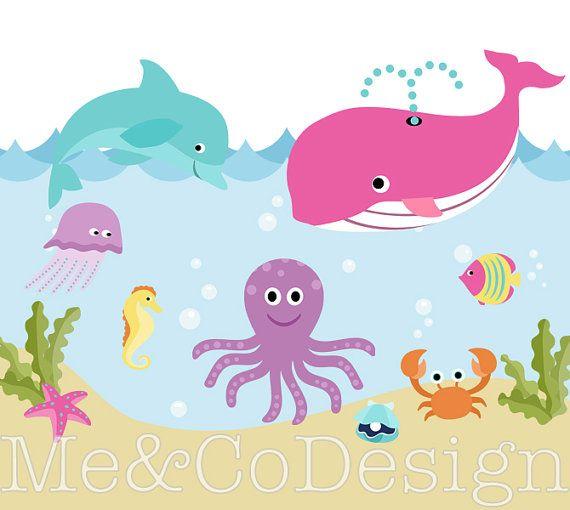Ocean Clipart, Cute Fun, Nautical Sea Beach, Boy and Girl.