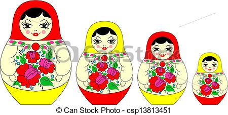 Clipart Vector of matryoshka, russian souvenir.
