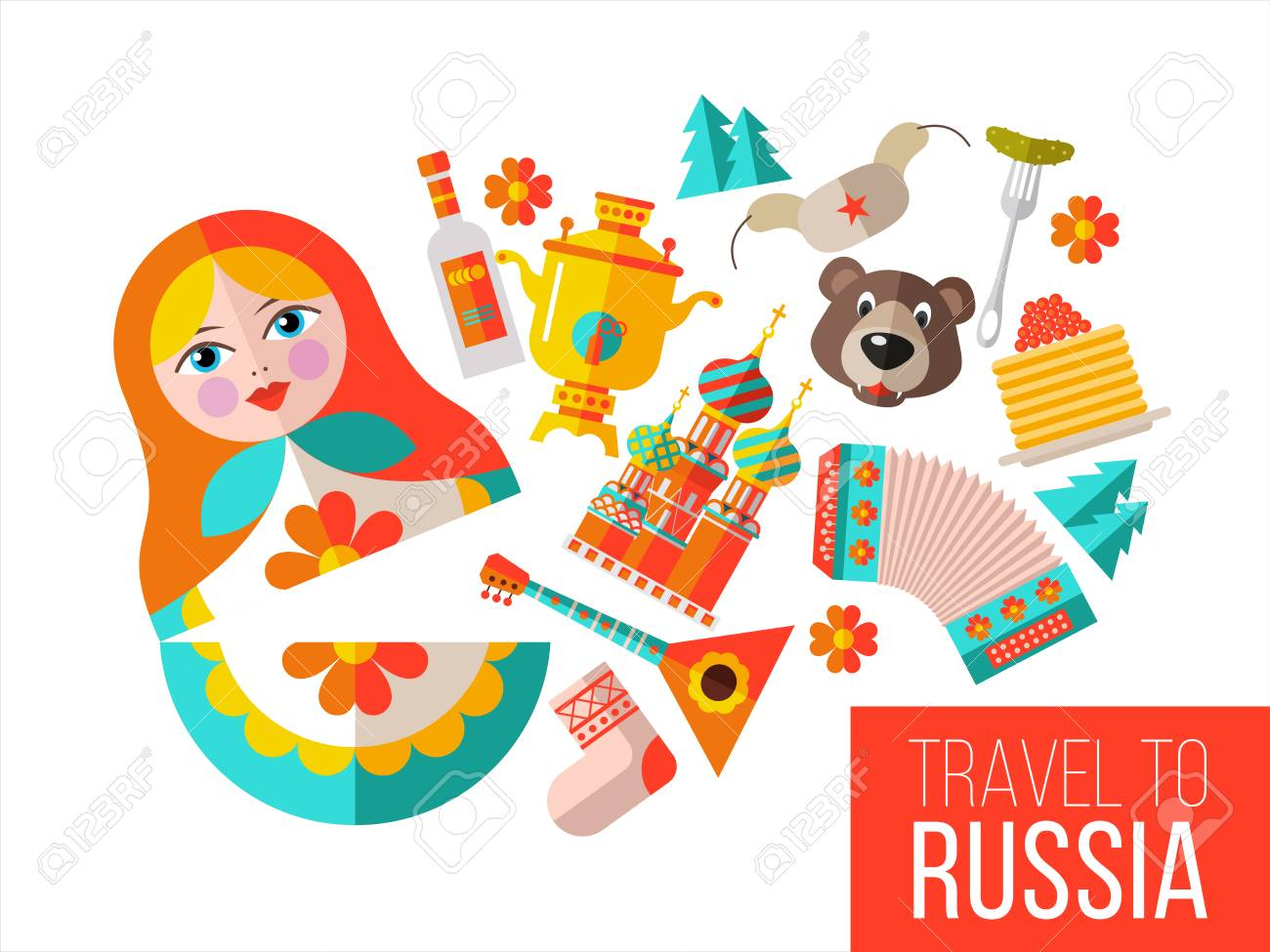 Welcome To Russia. Travel To Russia. Set Of Clipart Russian.