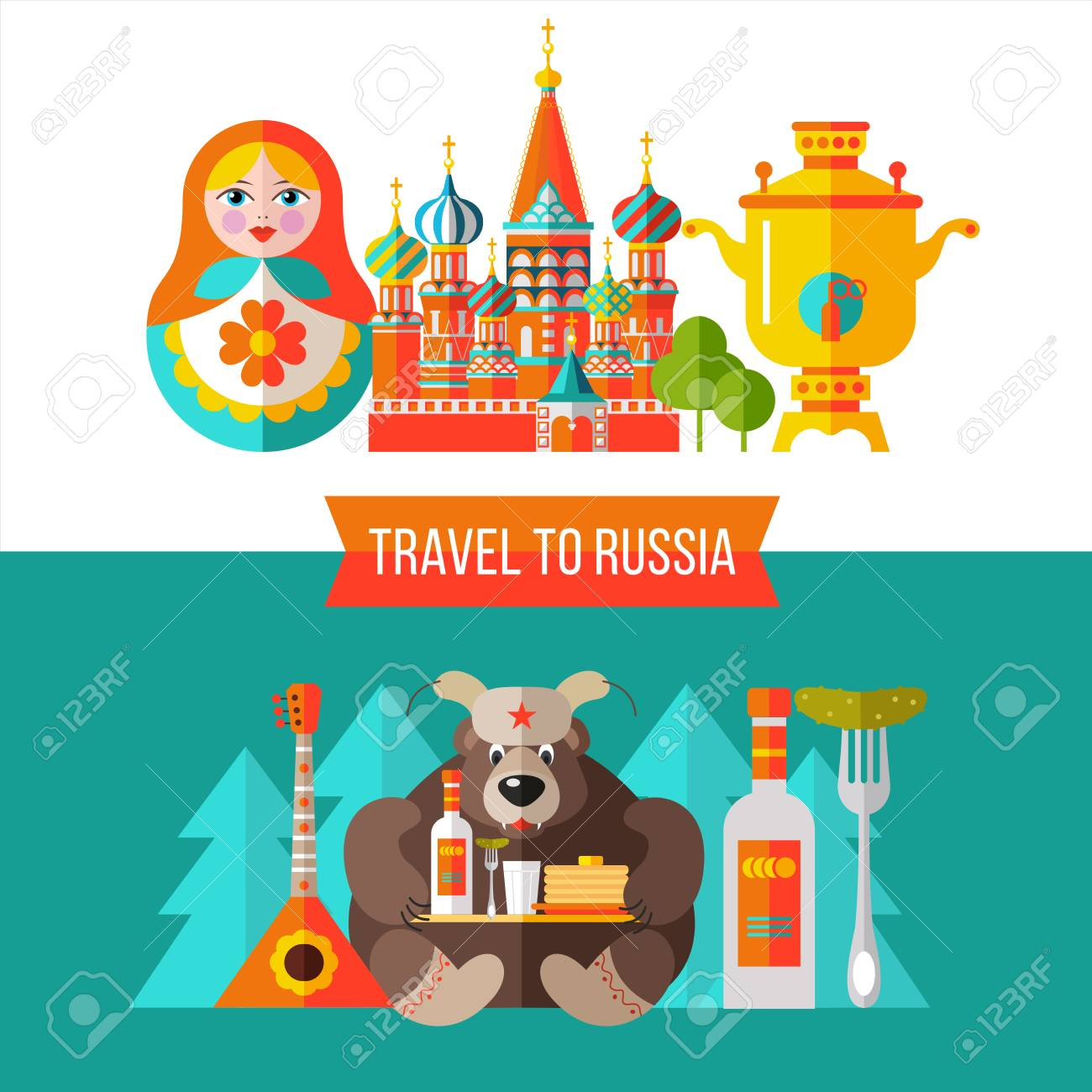 Welcome To Russia. Travel Info Ads Banner. Set Of Clipart Russian.