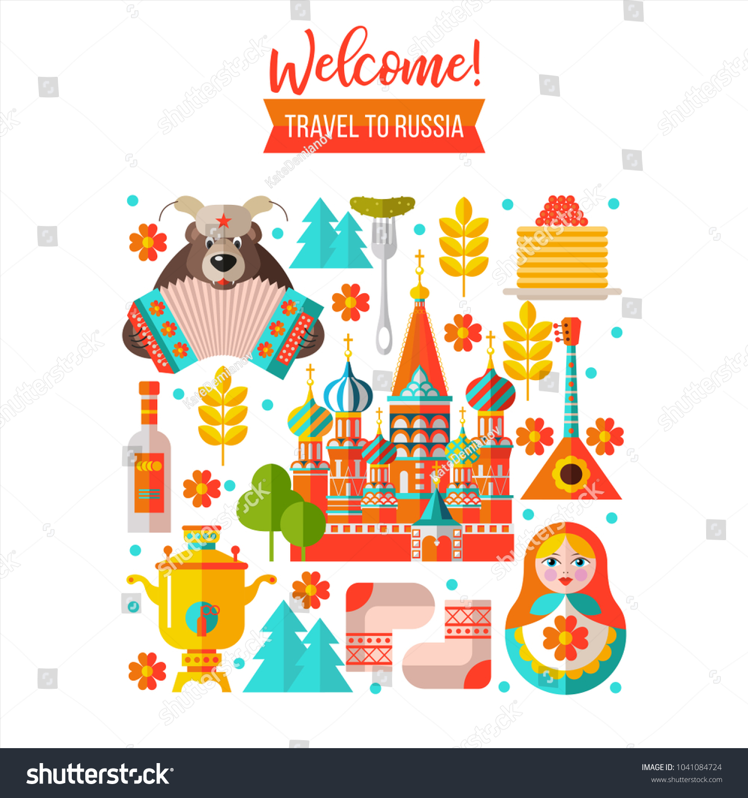 Welcome Russia Travel Russia Set Clipart Stock Vector (Royalty Free.