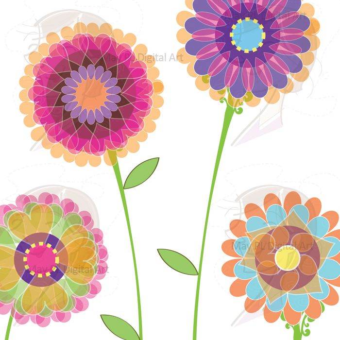 Spring Flowers Clipart Pink Digital Floral Decorations Graphics.