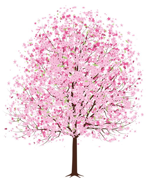 Pink Spring Deco Tree PNG Clipart.
