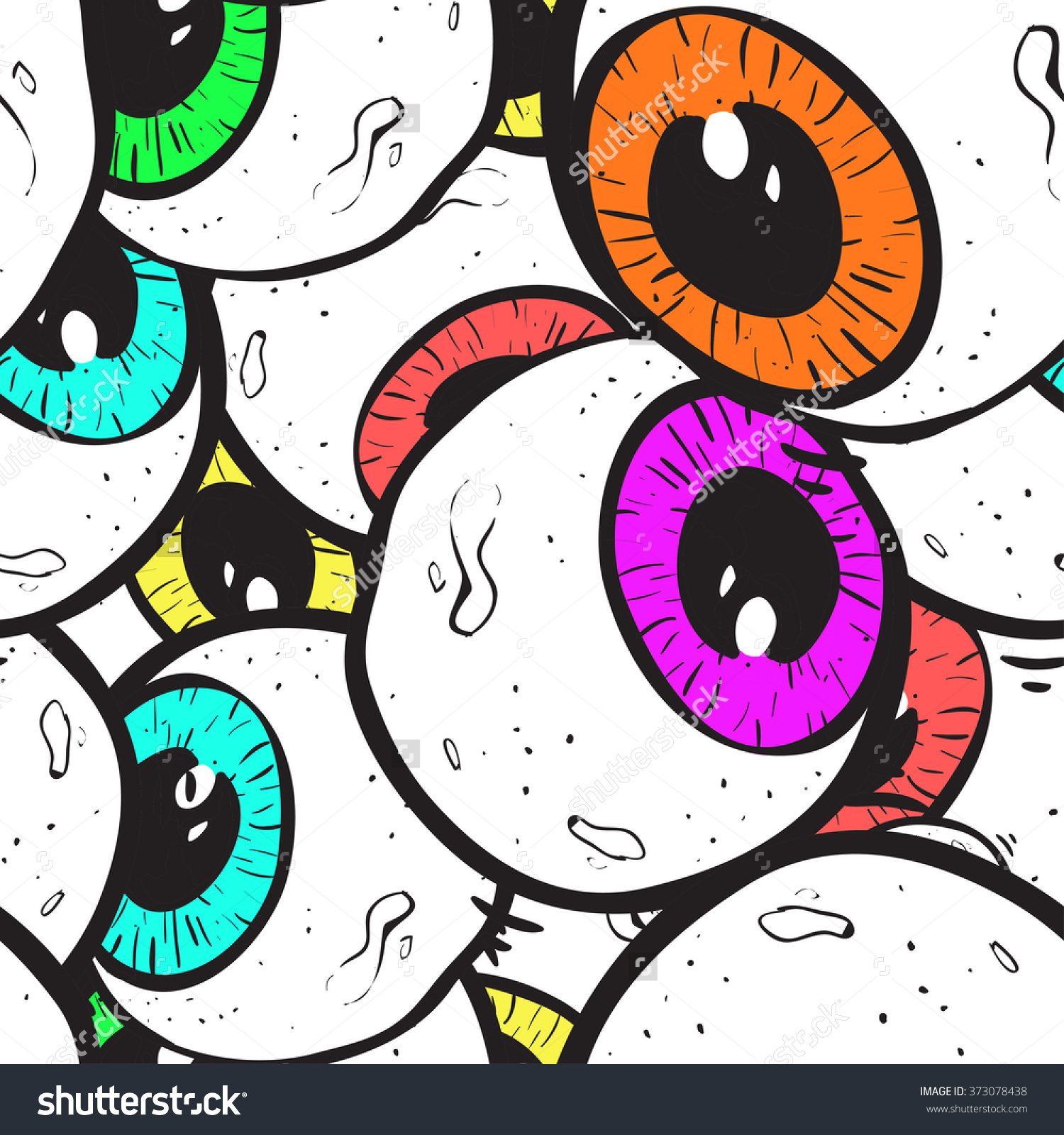 Abstract Eye Seamless Pattern. Surrealism Background. Stock Vector.