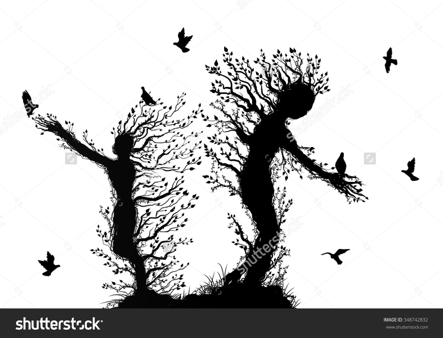 Two Tree Silhouettes Look Like Man Stock Vector 348742832.