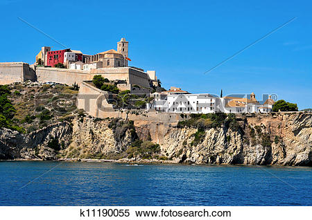 Stock Image of View of Dalt Vila, the old town of Ibiza Town, in.