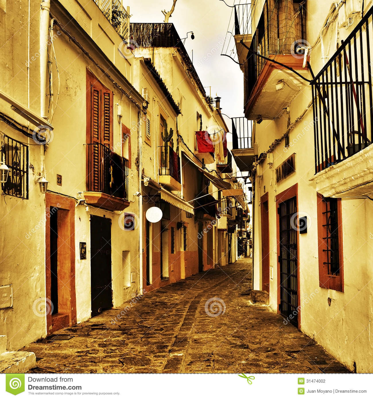 Street Of Dalt Vila, The Old Town Of Ibiza Town, In Balearic Isl.