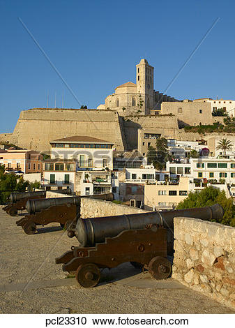Stock Photography of Ibiza Town Dalt Vila Cathedral & Castell.