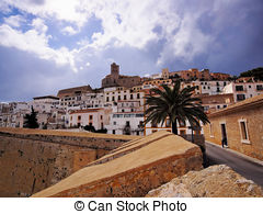 Stock Photo of Dalt Vila on Ibiza Town hill across the bay in.