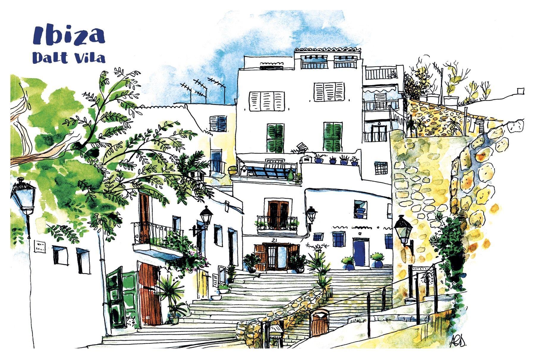 Plaza del Sol, Ibiza old town, Eivissa, Ibiza postcard, postales.