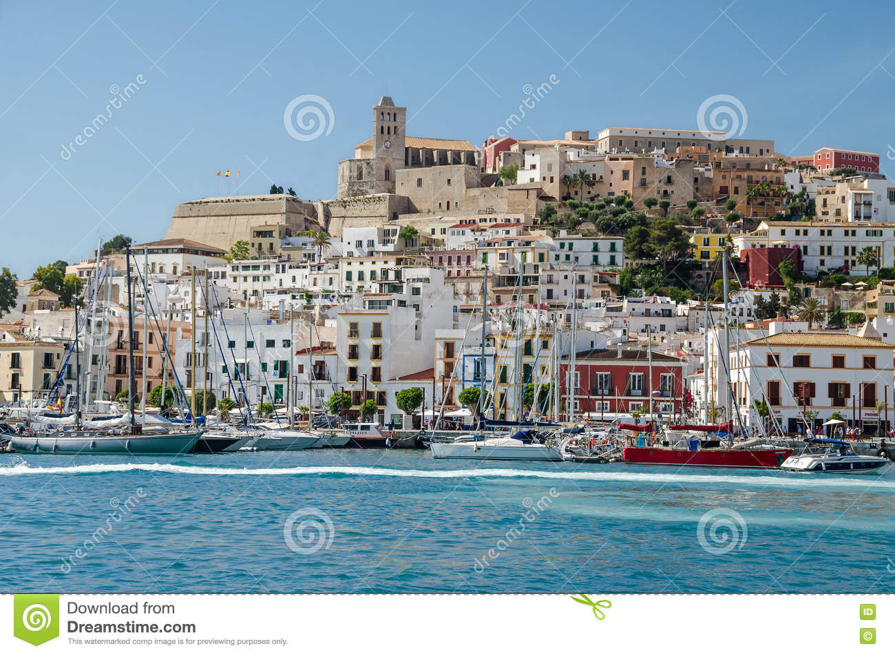 Dalt Vila Of Ibiza Town With Cathedral And Marina Editorial Image.