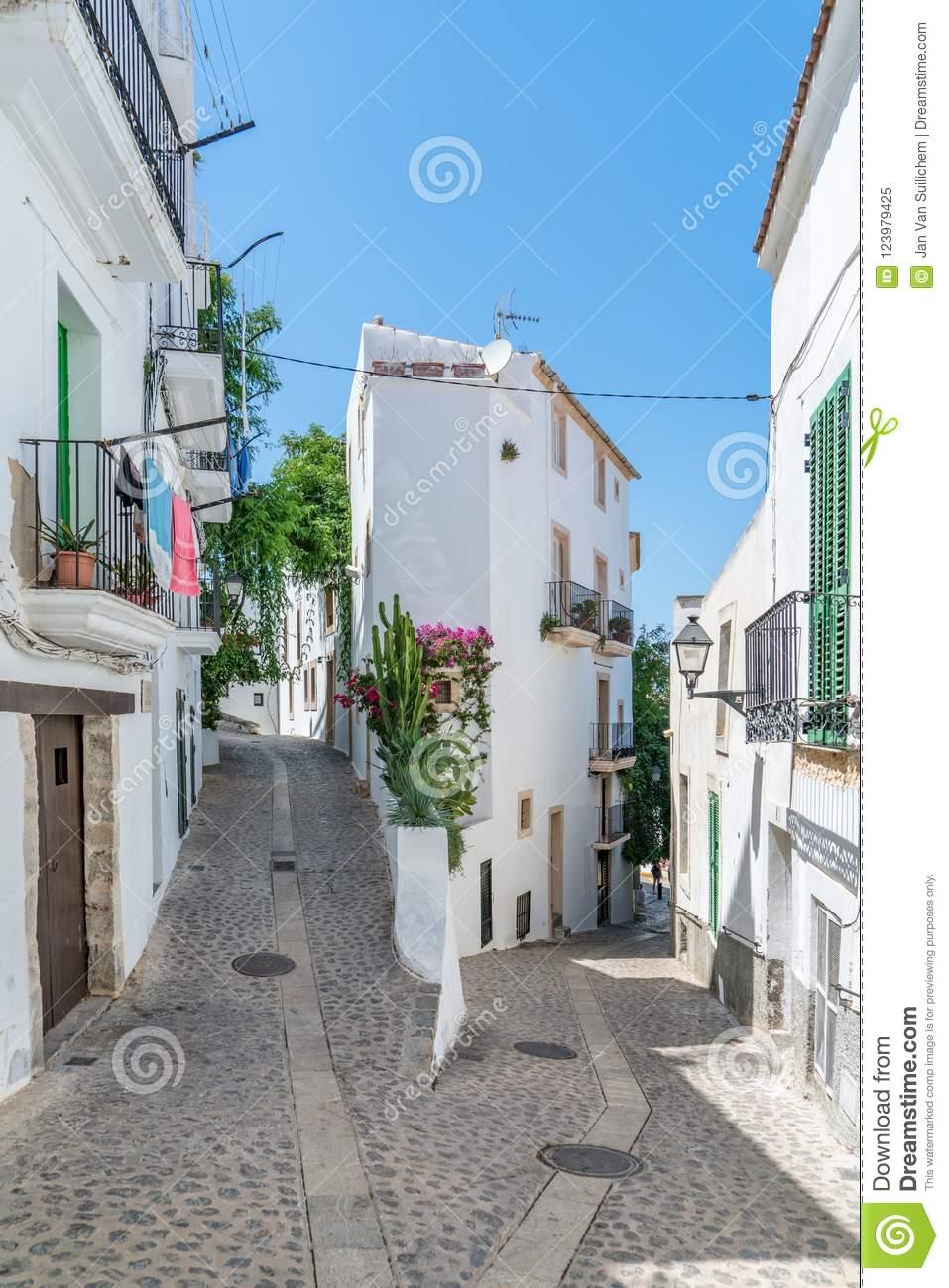 Ibiza Old Town Street White Houses Dalt Vila Stock Image.
