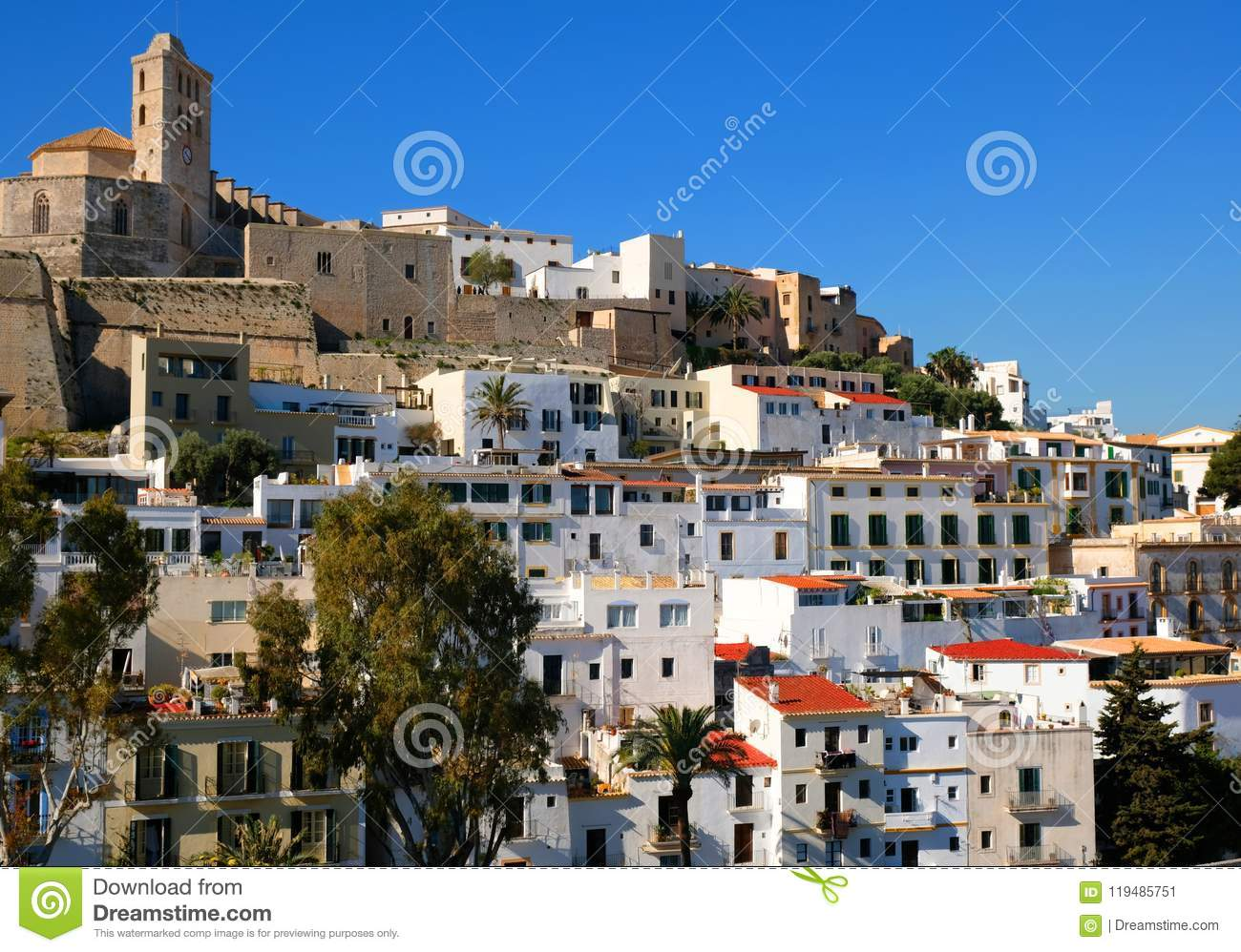 Ibiza,town, The Cathedral And The Old Town And Its Guns Stock Image.