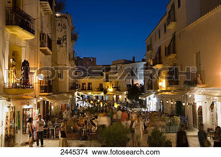 Stock Photo of People at restaurant, Dalt Vila, Ibiza, Spain.