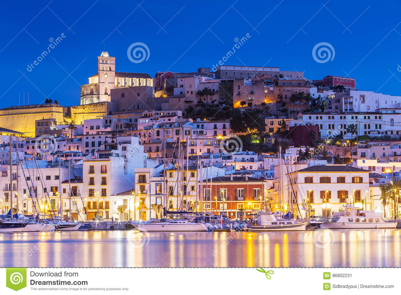 Ibiza Dalt Vila Downtown At Night With Light Reflections In The.