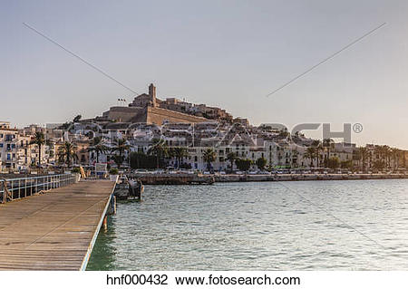 Stock Photo of Spain, Balearic Islands, Ibiza, View of old town.