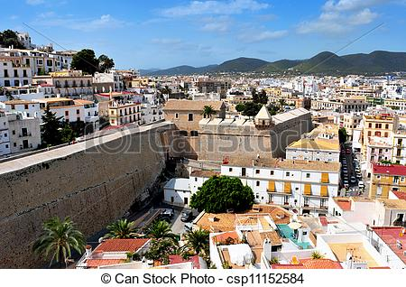 Pictures of View of Dalt Vila, the old town of Ibiza Town, in.