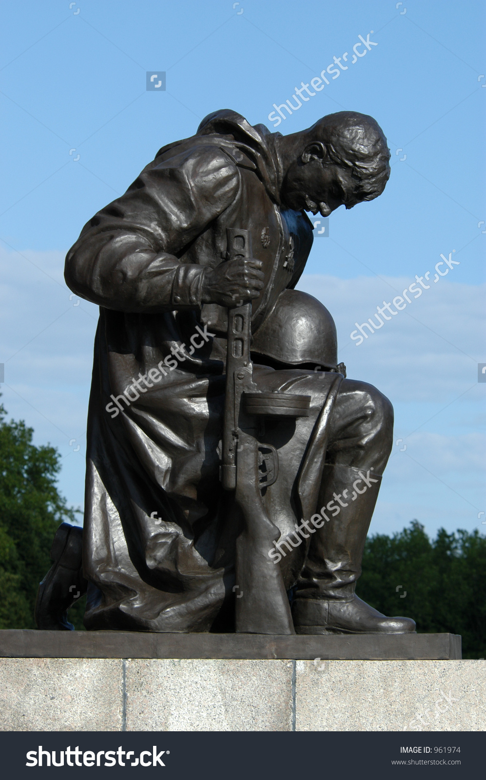 Huge Statue Kneeling Soldier Soviet War Stock Photo 961974.