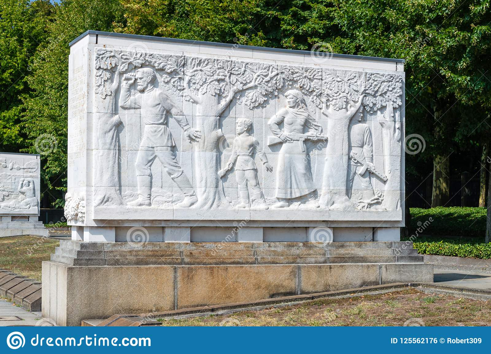 One Of Sixteen Stone Sarcophagi At The Soviet War Memorial Treptower.