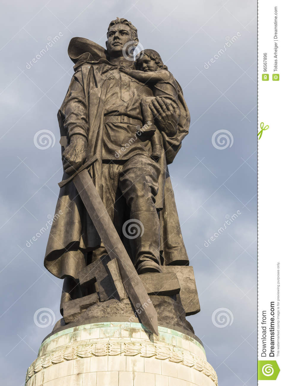 Statue At The Russian War Memorial In Treptow Berlin Germany Stock.