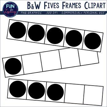 B & W Five Frames Clipart.