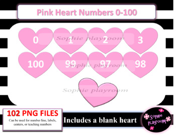 Pink Valentines Heart Numbers 0.