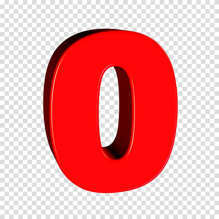 Logo Red Circle, number 0 transparent background PNG clipart.