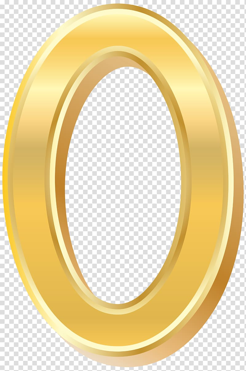 Round gold plated 0, Yellow Circle, Gold Style Number Zero.