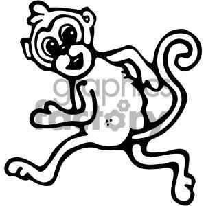 cartoon clipart monkey 007 bw . Royalty.